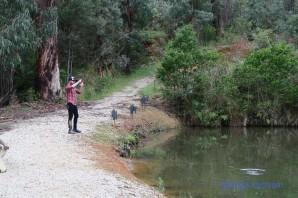 Man catching a fish fly fishing