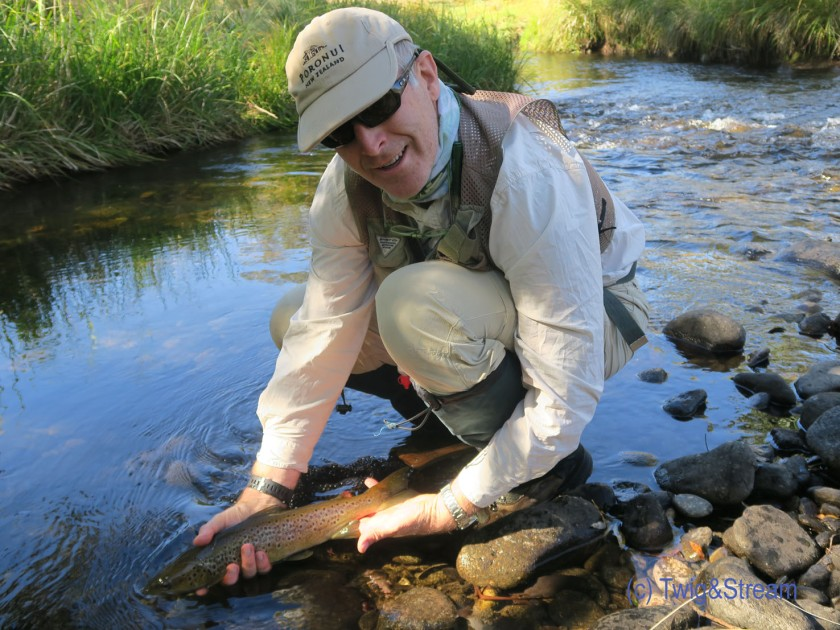 Releasing a brown trout - a real 2 pounder