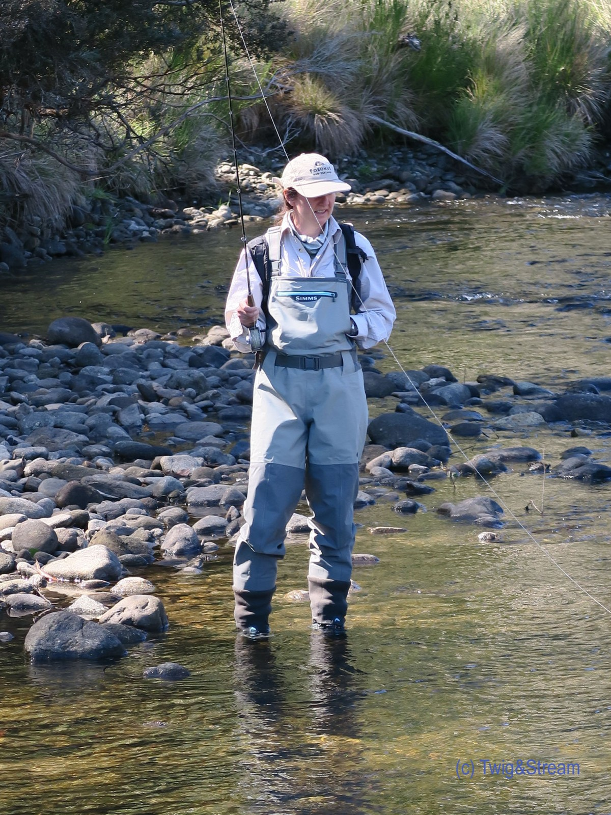Woman fly fishing for trout.