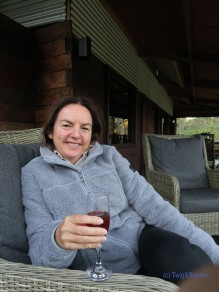 Enjoying a glass of bubbles after fly fishing.