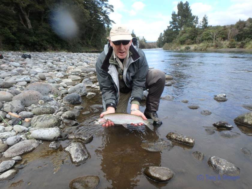 A long recovering rainbow trout caught fly fishing in the Tongariro